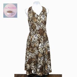 Tapemeasure Maxi Dress Floral Faux Wrap Brown